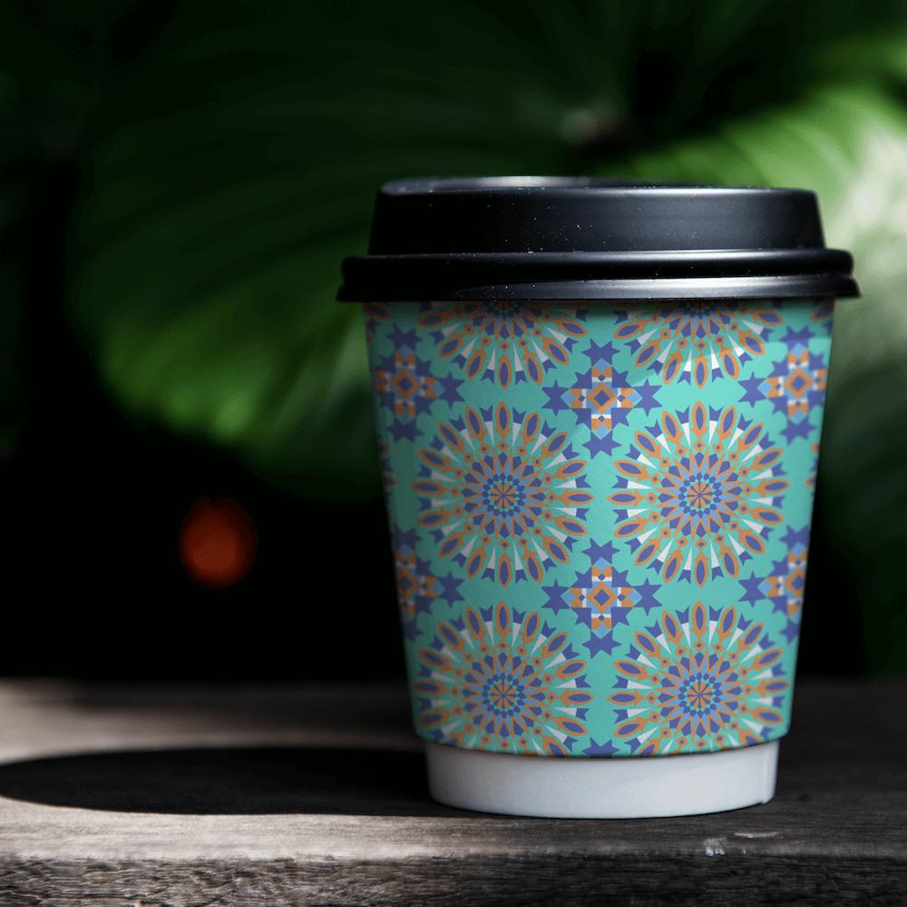 Moroccan Tile Repeat Pattern Coffee Cup Mock Up - Rumu Creative
