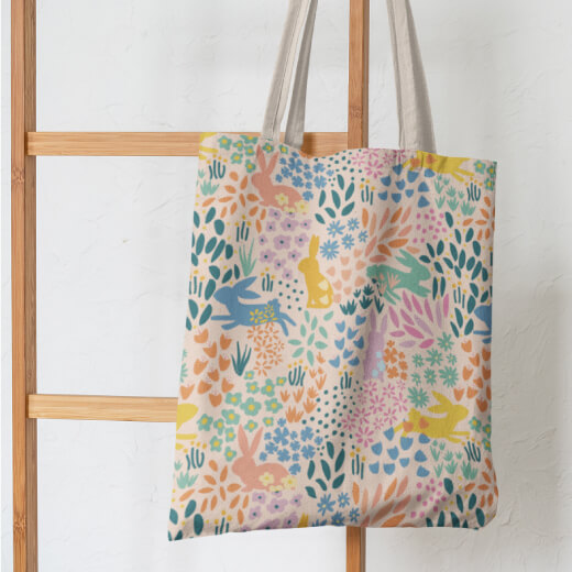 Bunny-Garden-repeat pattern--Tote-Bag