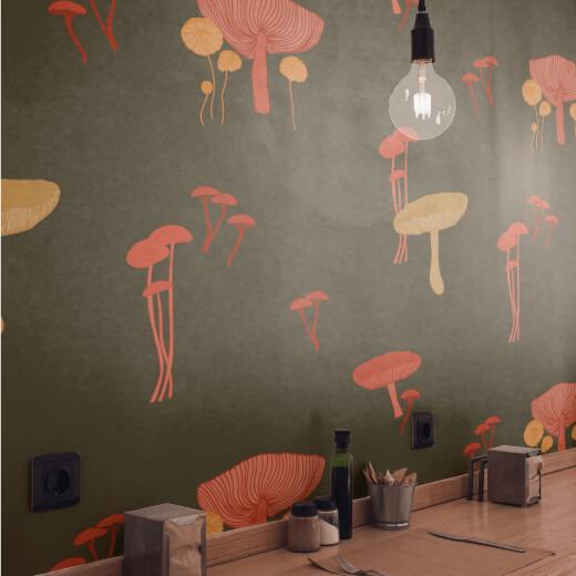 Mushroom-Wallpaper- Repeat Pattern-Mock-Up - Rumu Creative