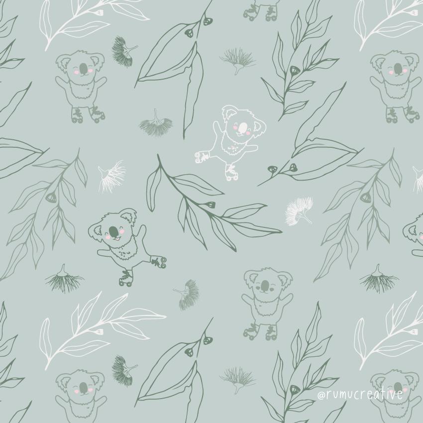 Koala on Skate repeat pattern - Rumu Creative
