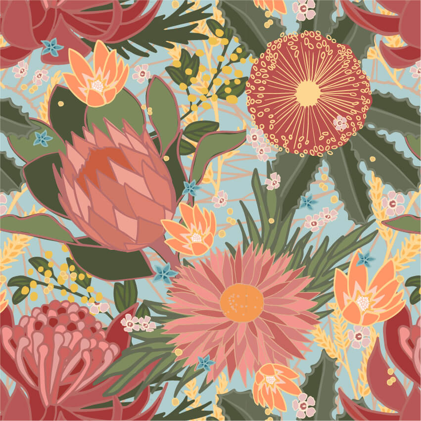 Australian flowers repeat pattern
