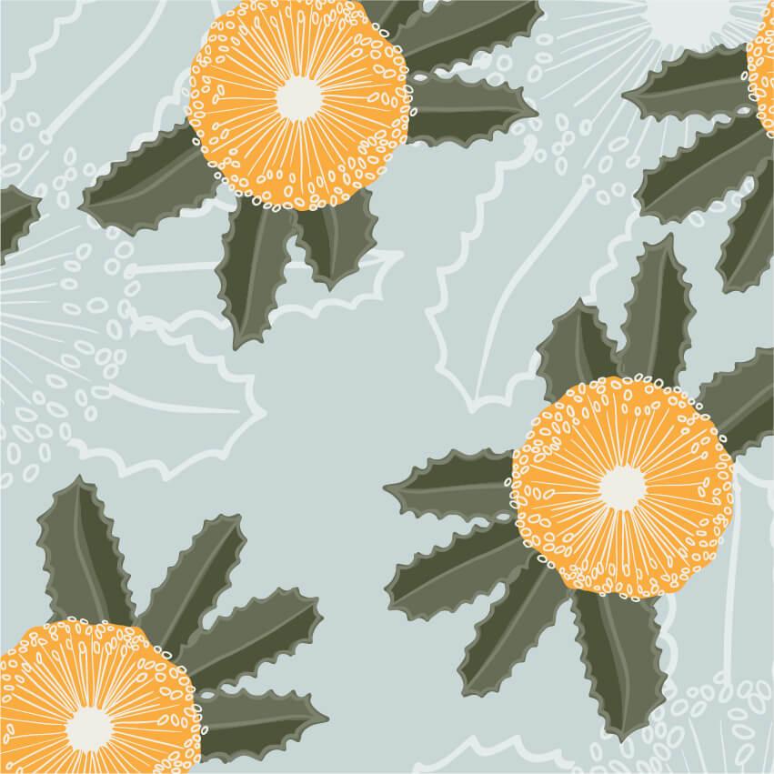 Australian yellow bottle brush flower repeat pattern