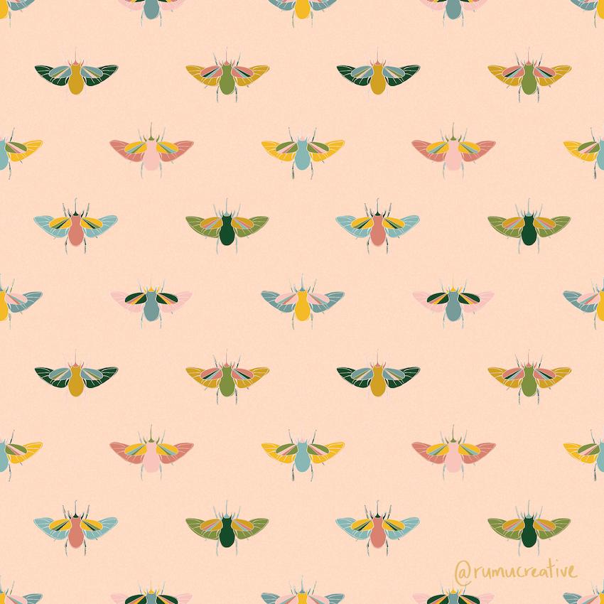 Flying Beetles Pattern- Rumu Creative